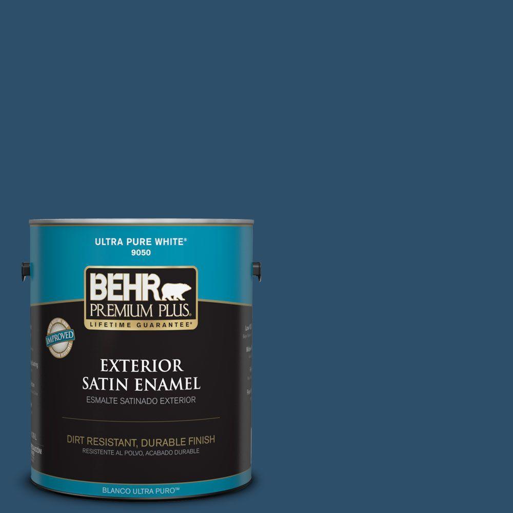 BEHR Premium Plus 1-gal. #ECC-16-3 Inlet Harbor Satin Enamel Exterior Paint