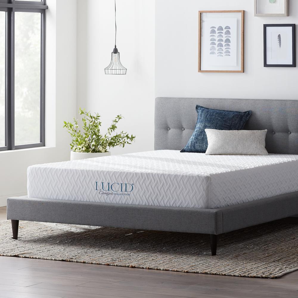 LUCID Comfort Collection 10 in. Cal King Gel Memory Foam Mattress