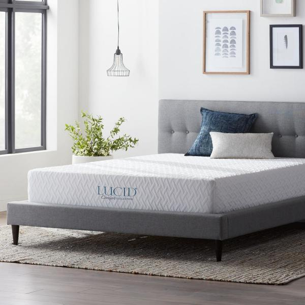 LUCID Comfort Collection 10 in. Twin Gel Memory Foam Mattress -