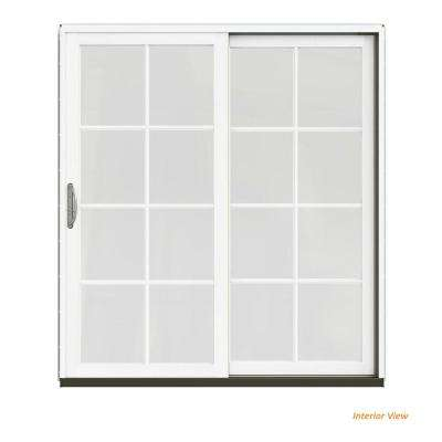 72 in. x 80 in. W-2500 Contemporary Brown Clad Wood Right-Hand 8 Lite Sliding Patio Door w/White Paint Interior