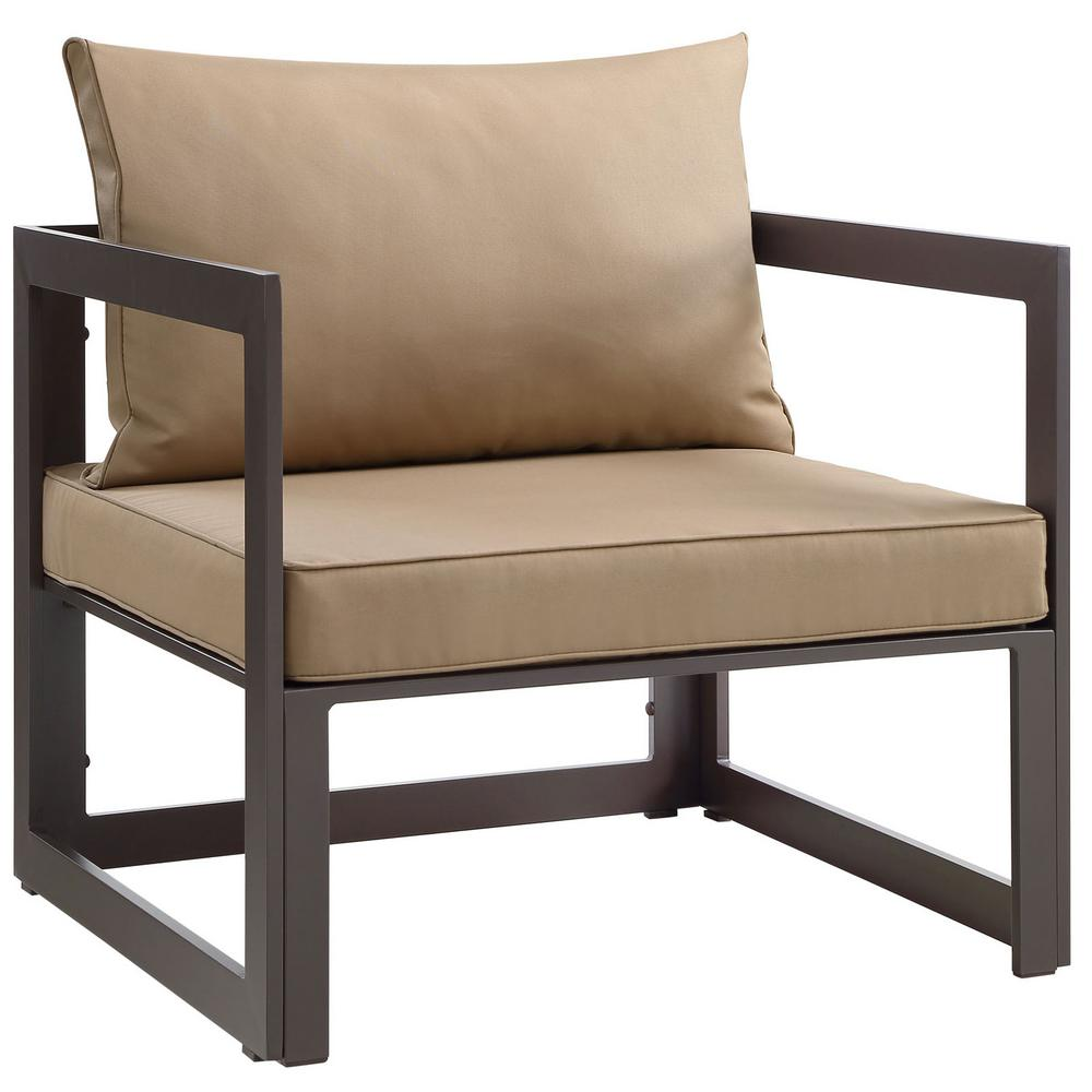 Fortuna Aluminum Outdoor Patio Lounge Chair in Brown with Mocha Cushions