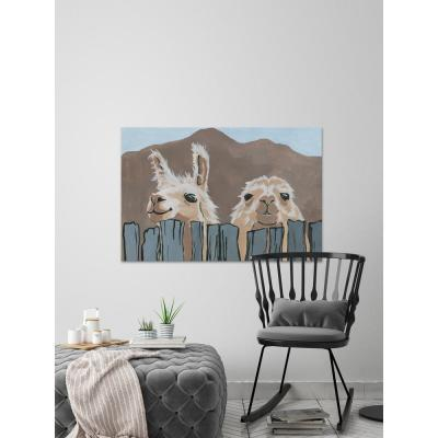 """16 in. H x 24 in. W """"Peekaboo Llamas"""" by Marmont Hill Printed Canvas Wall Art"""