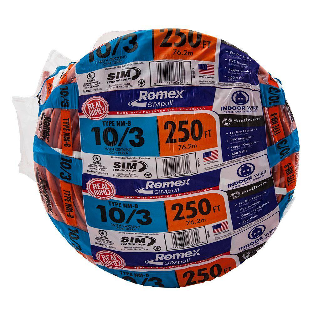 0084a8f67ab Southwire 250 ft. 10 3 Solid Romex SIMpull CU NM-B W G Wire-63948455 ...