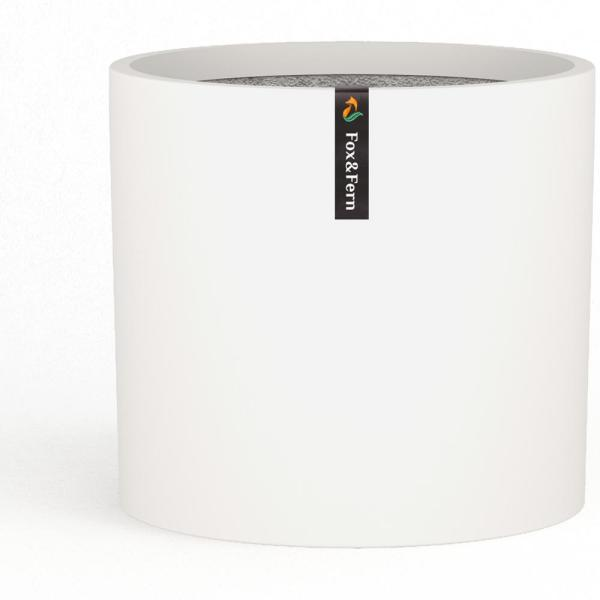 Modern 12 in. Matte White Fiberstone Planter with Drainage (Fits Plant Stand)