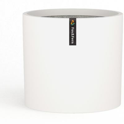 Modern 8 in. Matte White Fiberstone Planter with Drainage (Fits Plant Stand)