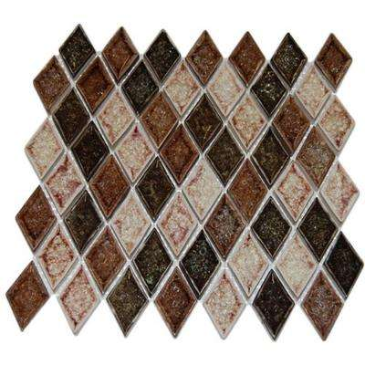 Roman Selection IL Fango Diamond 12 in. x 12 in. x 8 mm Glass Mosaic Floor and Wall Tile