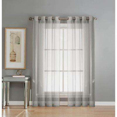 Sheer Sheer Elegance 84 in. L Grommet Curtain Panel Pair, Silver (Set of 2)
