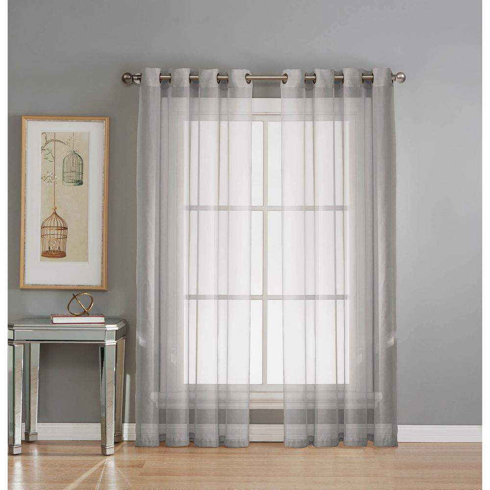 Window Elements Sheer Sheer Elegance 84 in. L Grommet Curtain Panel Pair, Silver (Set of 2)