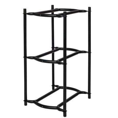 29 in. x 15 in. x 17 in. 3-Tier Modular Water Bottle Rack in Black Onyx