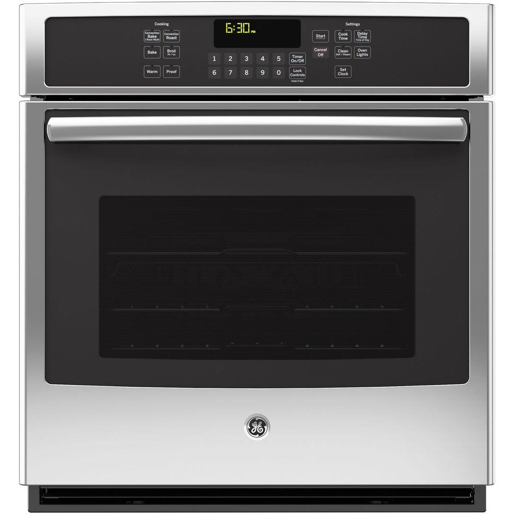 GE 27 in. Single Electric Wall Oven Self-Cleaning with Steam Plus Convection in Stainless Steel