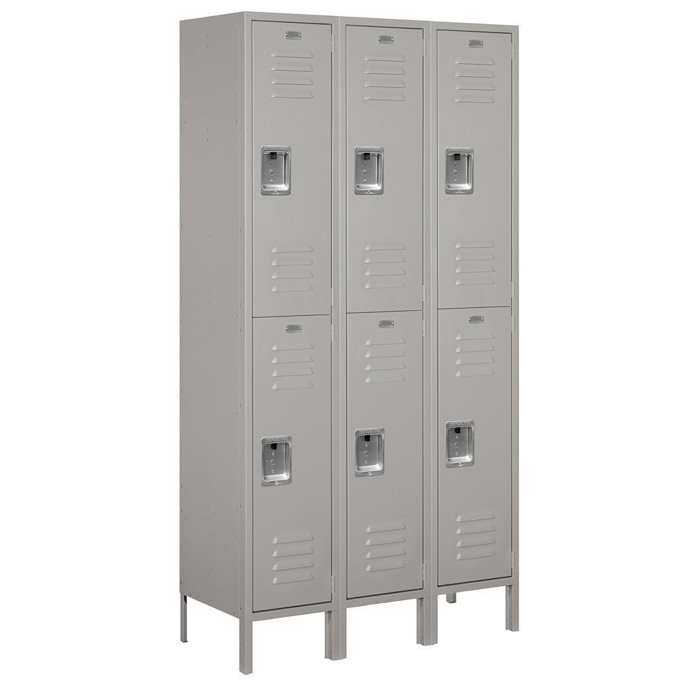 52000 Series 45 in. W x 78 in. H x 15 in. D Double Tier Extra Wide Metal Locker Unassembled in Gray