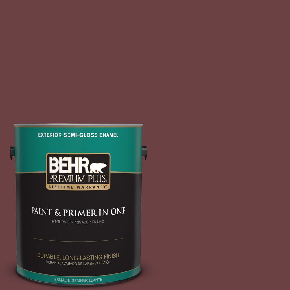 BEHR Premium Plus 1-gal. #BIC-50 Deep Claret Semi-Gloss Enamel Exterior Paint