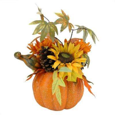 10 in. Harvest Artificial Pumpkin with Sunflowers, Mums, and Pine Cones