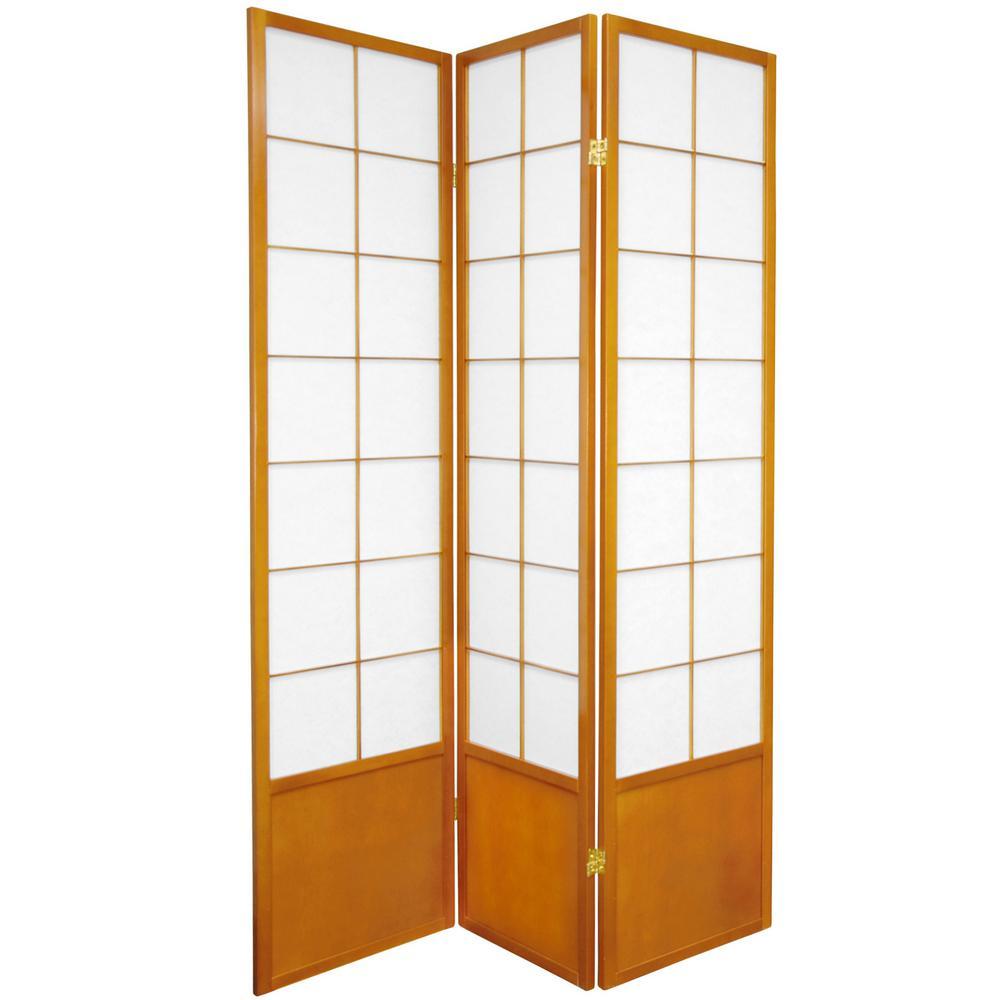 Oriental Furniture 6 Ft Honey 3 Panel Room Divider Zen Hon 3p The Home Depot