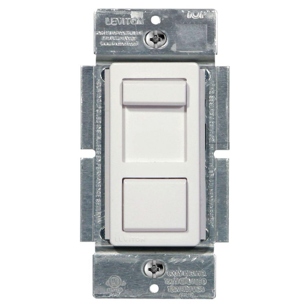 Leviton IllumaTech 150-Watt Single-Pole and 3-Way Universal Incandescent-CFL-LED Slide Dimmer, White/ Ivory/ Light Almond