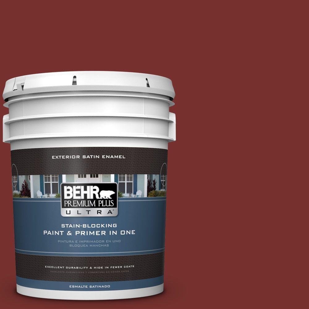 BEHR Premium Plus Ultra 5-gal. #ECC-15-3 Cherry Bark Satin Enamel Exterior Paint