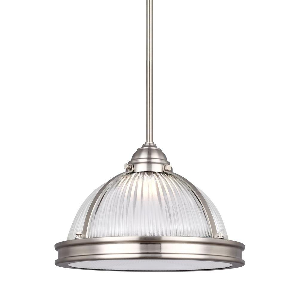 Sea Gull Lighting Pratt Street Prismatic 14-Watt Brushed Nickel Integrated LED Pendant  sc 1 st  Home Depot & Sea Gull Lighting Pratt Street Prismatic 14-Watt Brushed Nickel ...