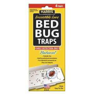 Harris Bed Bug Traps with 25 Irresistible Lures (4-Pack) by Harris