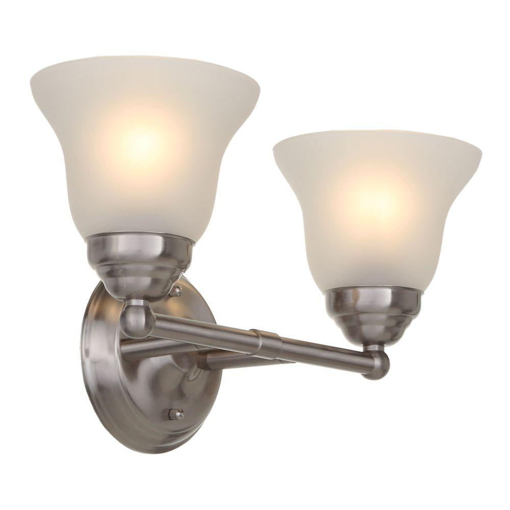 Hampton Bay 2 Light Brushed Nickel Vanity Light with Frosted Glass  Shades EGM1392A 3 BN   The Home Depot. Hampton Bay 2 Light Brushed Nickel Vanity Light with Frosted Glass