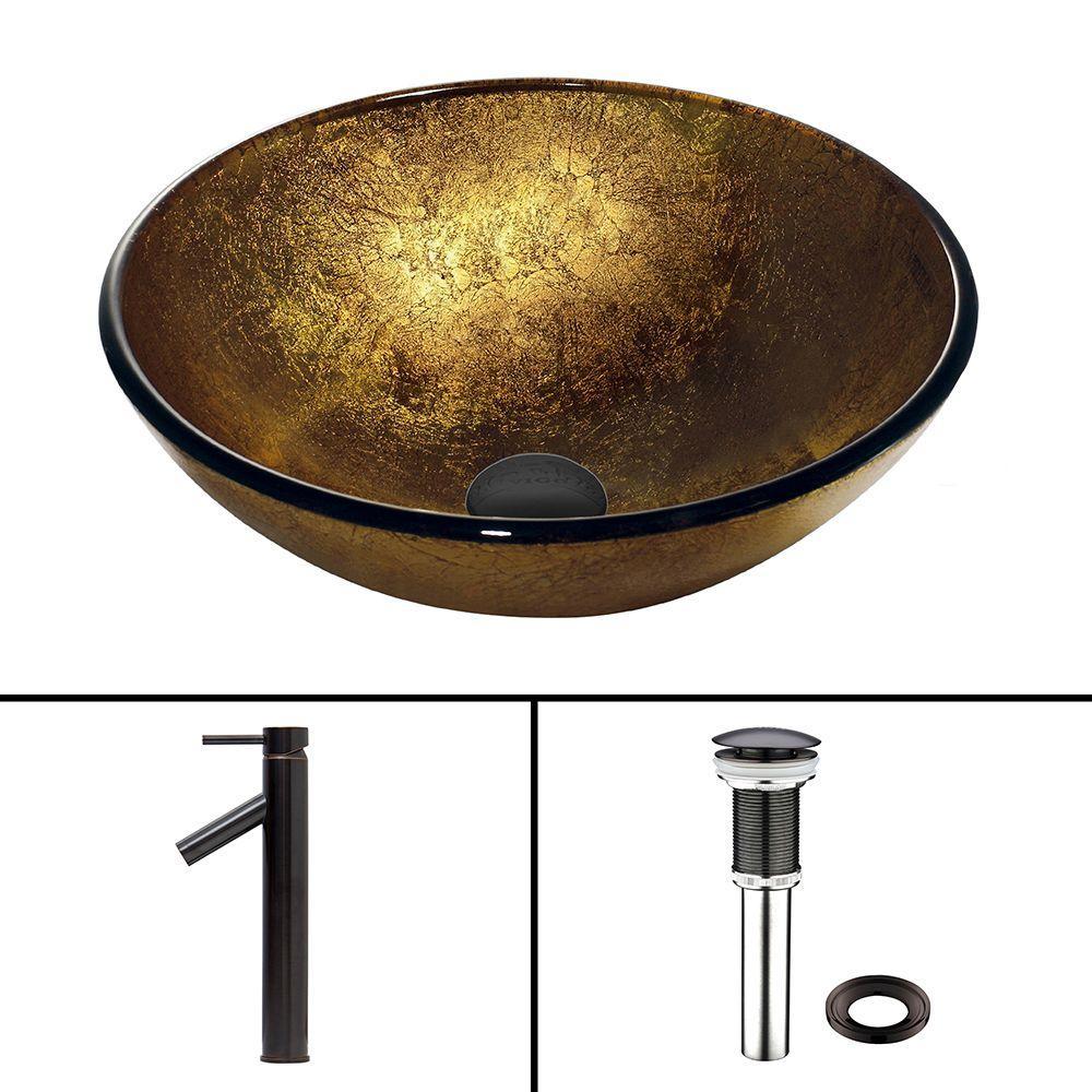 VIGO Glass Vessel Sink in Liquid Gold and Dior Faucet Set in Antique Rubbed Bronze