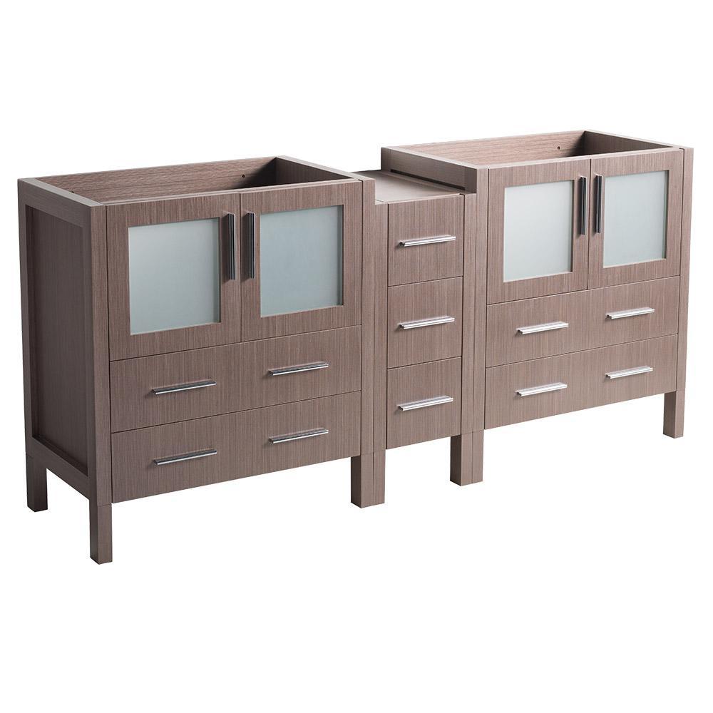 Modern Double Vanity Cabinet Gray Oak