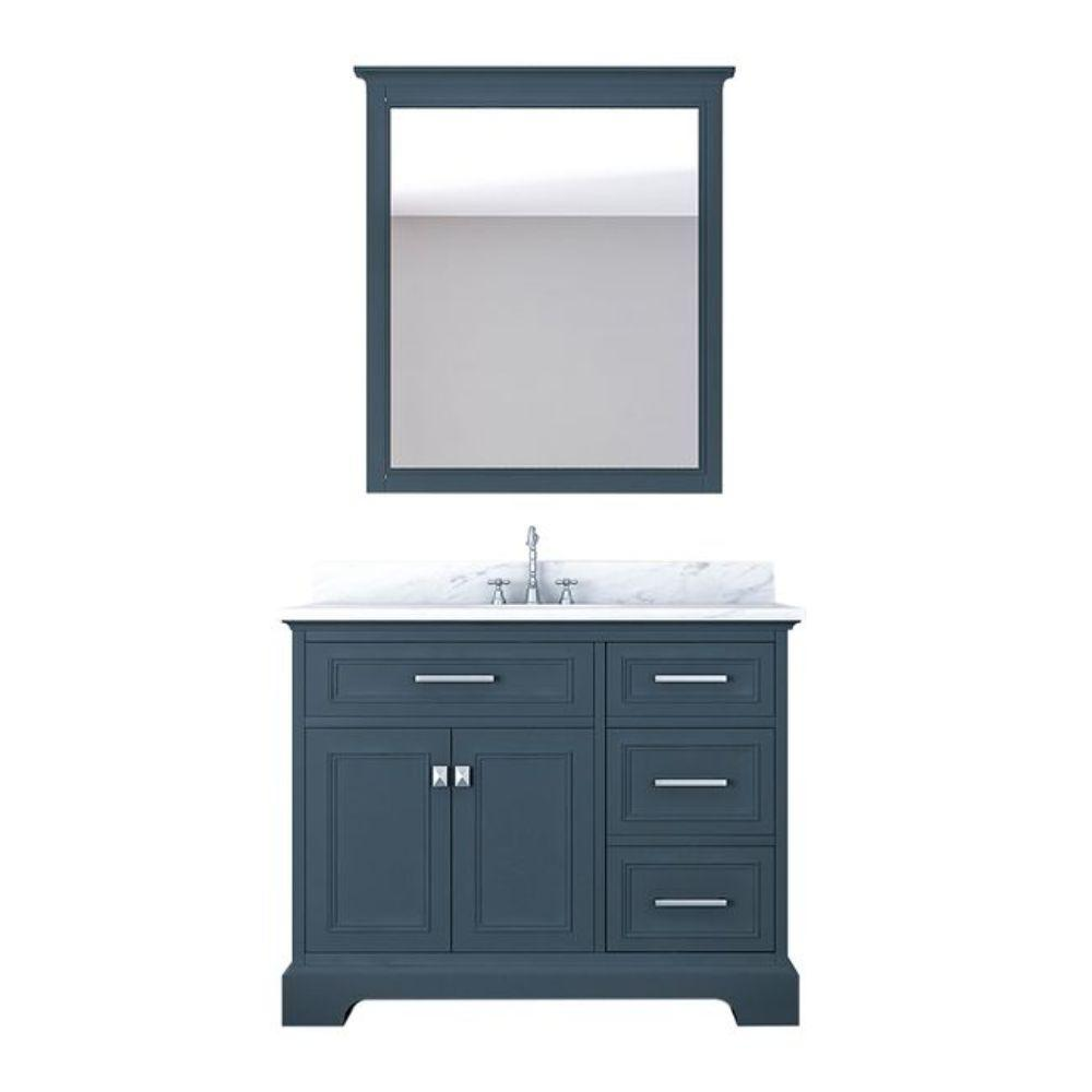 Alya Bath Yorkshire 43 in. W x 22 in. D Vanity in Gray with Marble Vanity Top in White with White Basin and Mirror