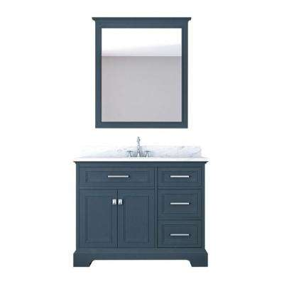 Yorkshire 43 in. W x 22 in. D Vanity in Gray with Marble Vanity Top in White with White Basin and Mirror