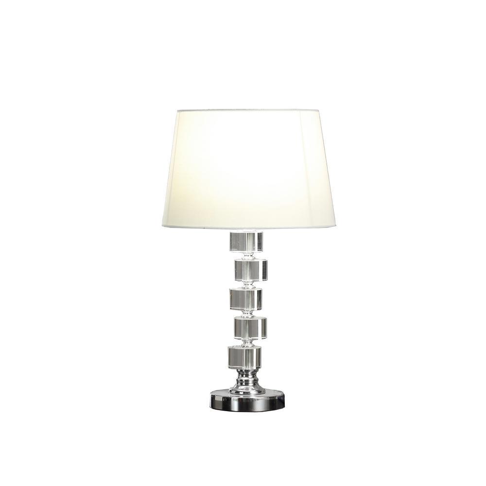 Crystal Art USB Table Lamp 19 H x 8 L x 8 W Silver