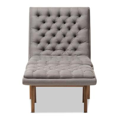 Annetha Grey Fabric Lounge Chair and Ottoman Set