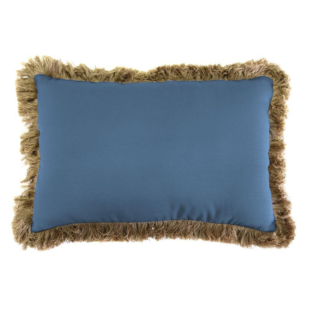 Jordan Manufacturing Sunbrella 9 in. x 22 in. Canvas Sapphire Blue Lumbar Outdoor Pillow with Heather Beige Fringe