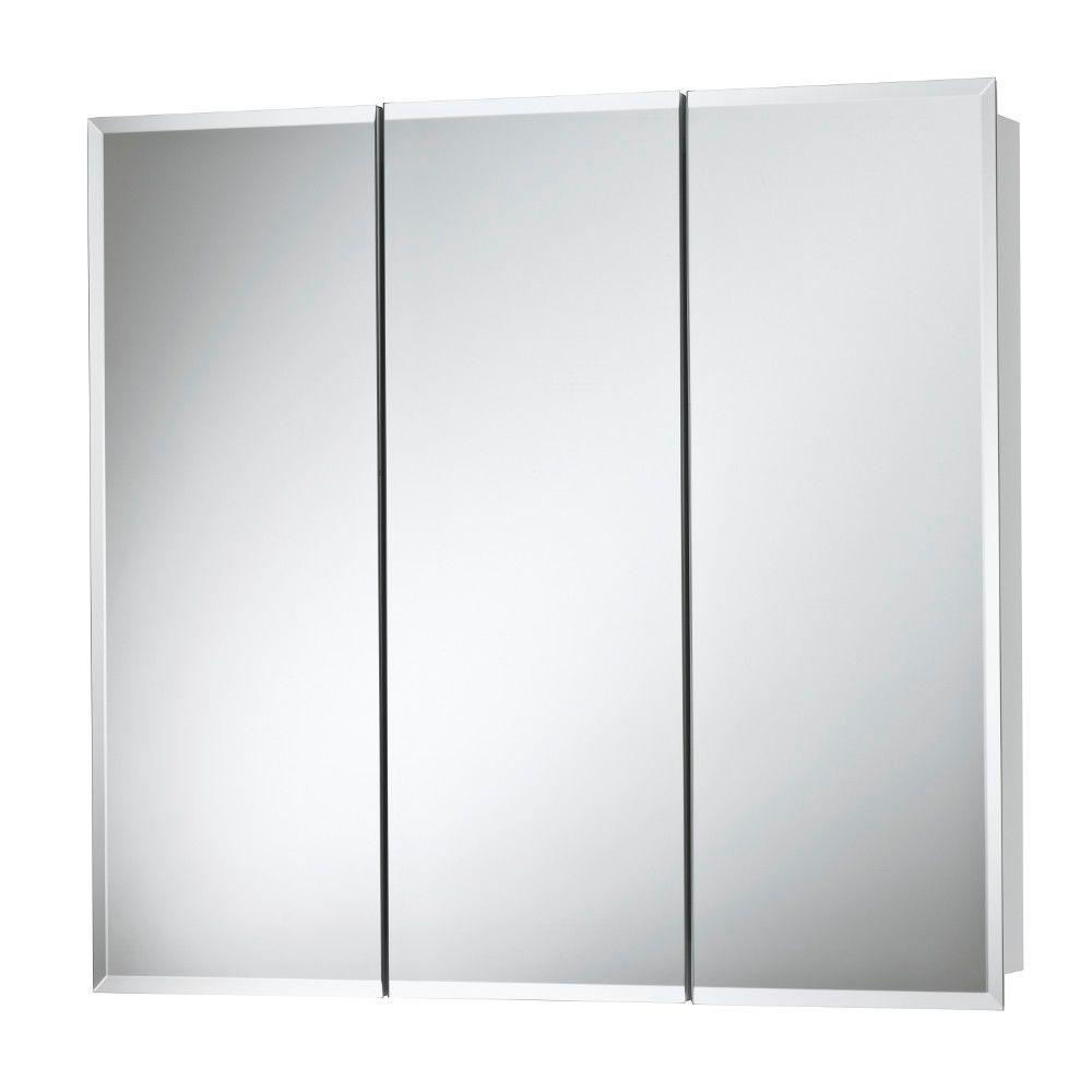 null Horizon 24 in. W x 24 in. H x 5-1/4 in. D Frameless Surface-Mount Bathroom Medicine Cabinet with 1/2 in. Beveled Mirror