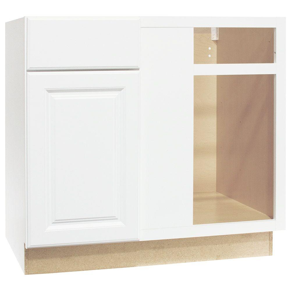Hampton Bay Hampton Assembled 36x34.5x24 in. Blind Base Corner Kitchen Cabinet in Satin White