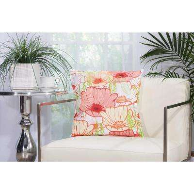 Primrose Flowers 18 in. x 18 in. White Indoor and Outdoor Pillow