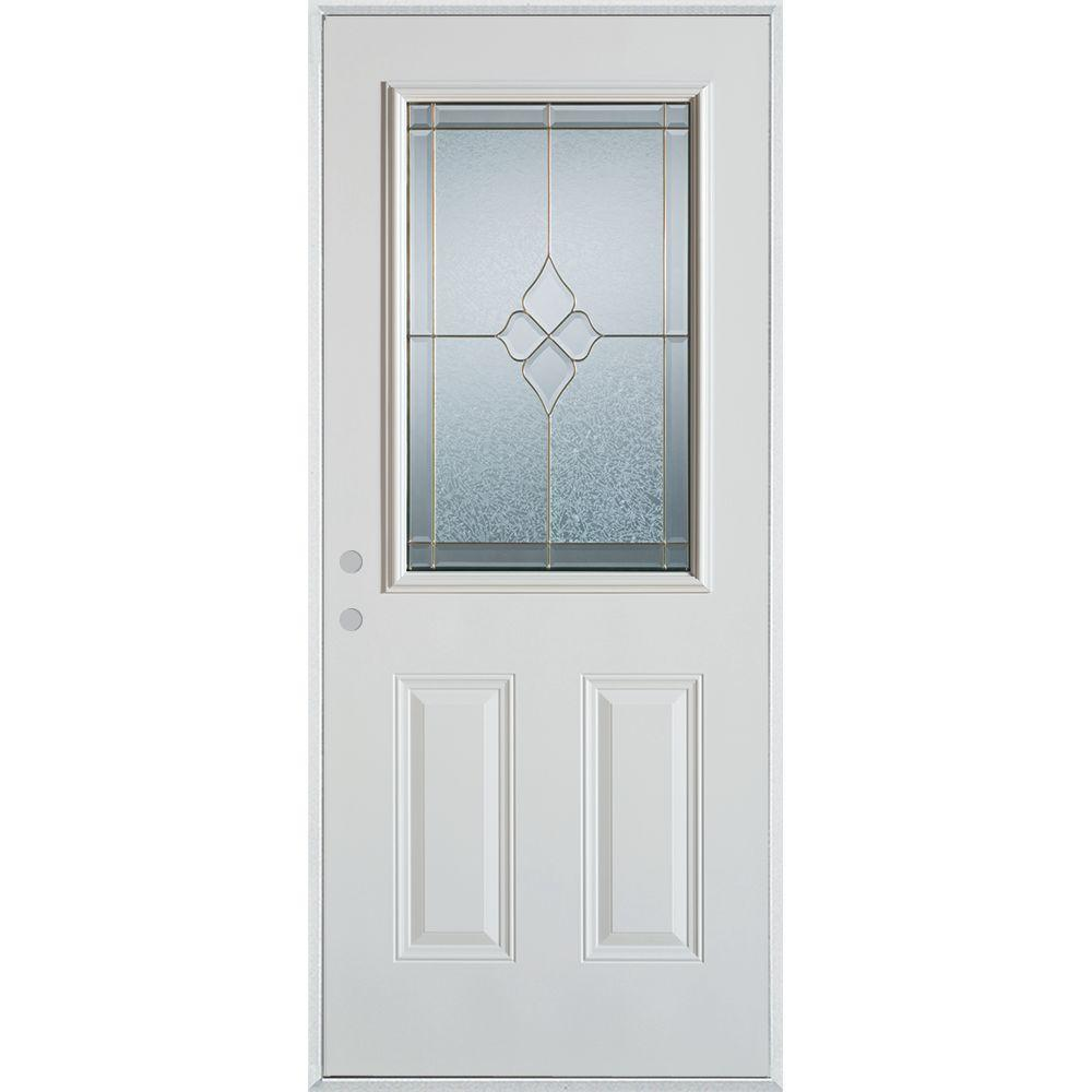 37.375 in. x 82.375 in. Geometric Brass 1/2 Lite 2-Panel Painted