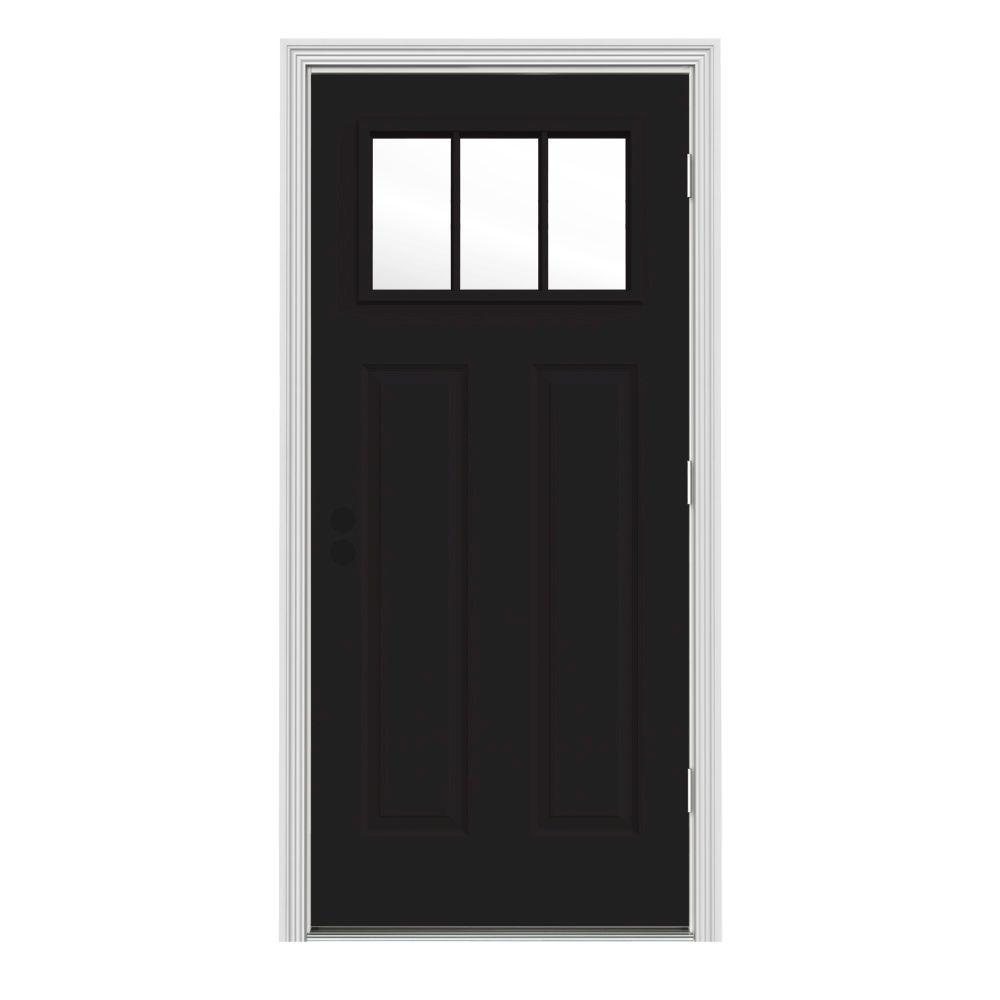 JELD-WEN 34 in. x 80 in. 3 Lite Craftsman Black w/ White Interior Steel Prehung Left-Hand Outswing Front Door w/Brickmould