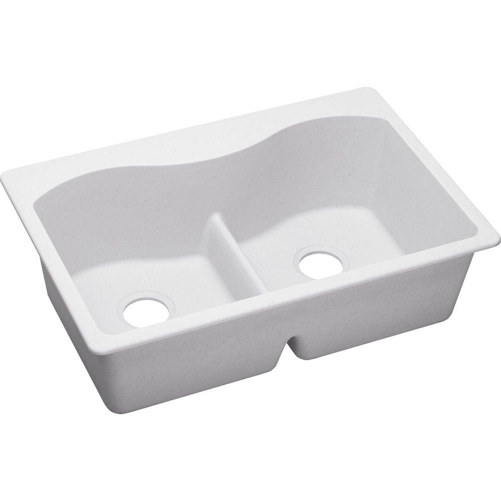 Quartz Classic Drop-In Composite 33 in. Double Bowl Kitchen Sink in