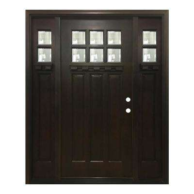 60 in. x 80 in. Craftsman Bungalow 6 Lite Left-Hand Inswing Hickory Stained Wood Prehung Front Door 10 in. Sidelites