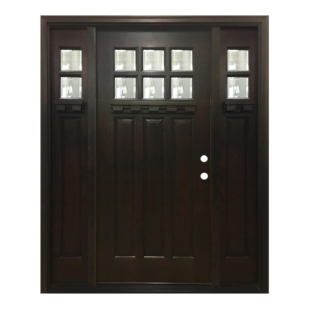 Steves sons 68 in x 80 in craftsman 3 lite arch stained knotty alder wood prehung front door for Prehung hickory interior doors
