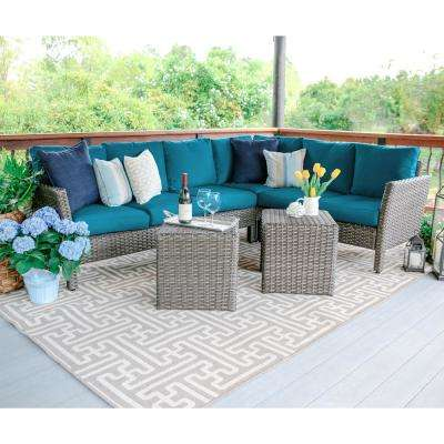 Canton 6-Piece Wicker Outdoor Sectional Set with Peacock Cushions