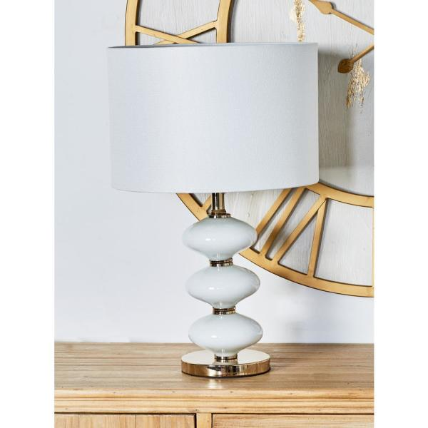 Litton Lane 21 in. White Round Segmented Glass Table Lamp with Linen Shade