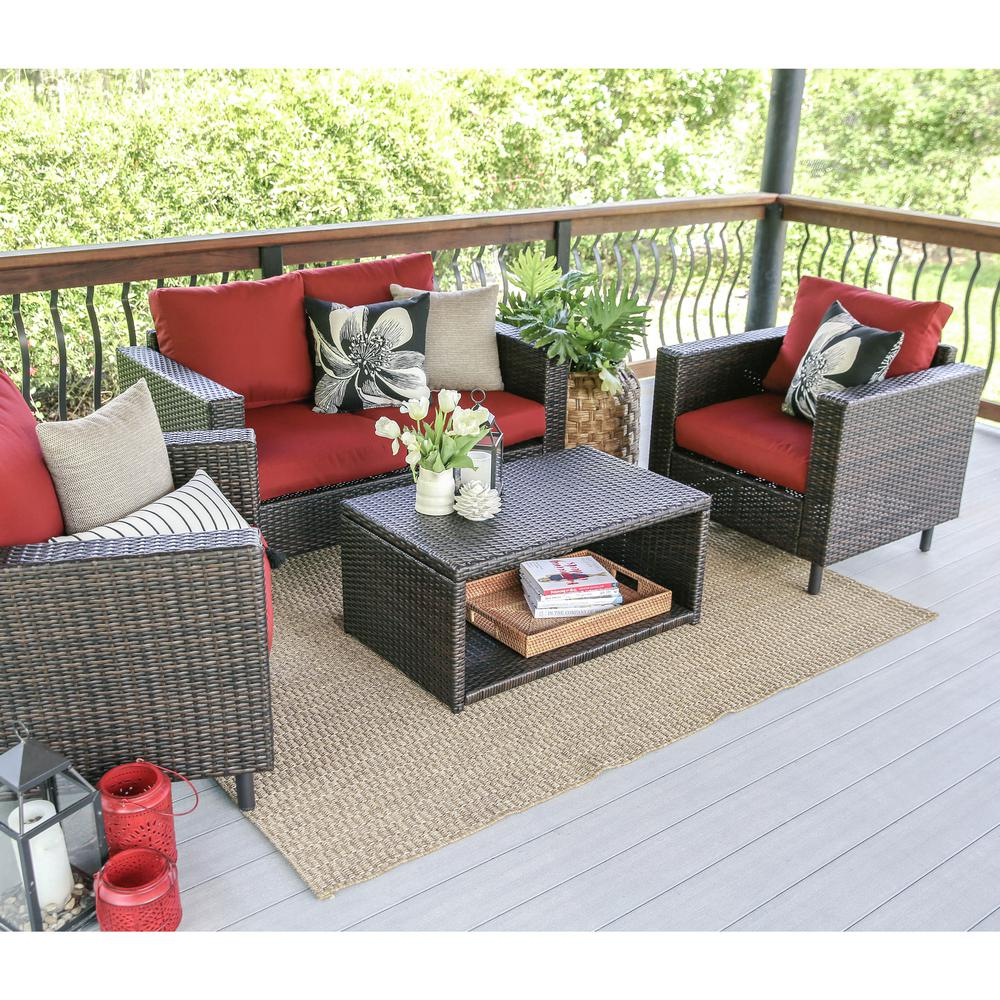 Leisure Made Draper 4 Piece Wicker Patio Conversation Set With Red