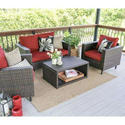 Draper 4-Piece Wicker Patio Conversation Set with Red Cushions