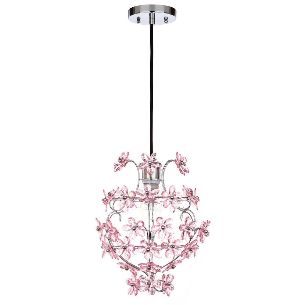 Raz 1-Light Chrome/Pink Floral Empire Pendant