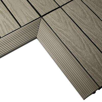 1/6 ft. x 1 ft. Quick Deck Composite Deck Tile Inside Corner in Egyptian Stone Gray (2-Pieces/box)