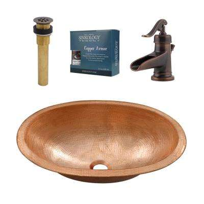 Strauss All-in-One Undermount or Drop-In Bathroom Copper Sink Design Kit with Pfister Rustic Bronze Faucet and Drain