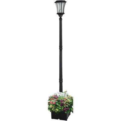 Abigail 1-Light Outdoor White Integrated LED Lamp Post and Planter