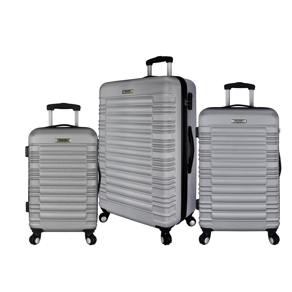 Elite Luggage 3-Piece Hardside Spinner Luggage Set, Silver was $349.99 now $209.99 (40.0% off)
