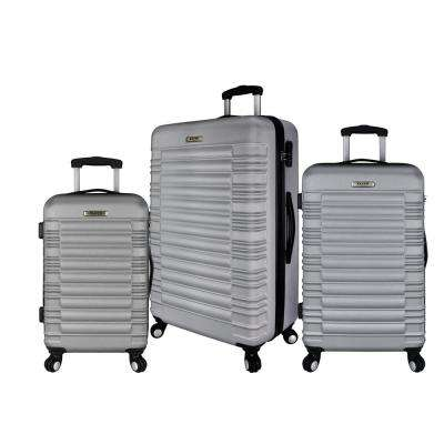 3-Piece Hardside Spinner Luggage Set, Silver