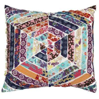 A1HC Multicolored Honeycomb 100% Cotton 18 in. x 18 in. Decorative Pillow