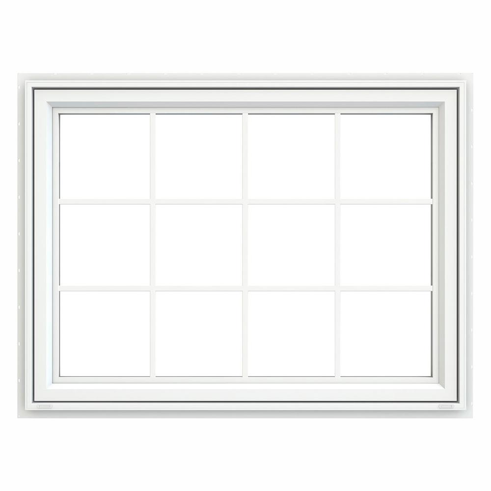 JELD-WEN 47.5 in. x 35.5 in. V-4500 Series White Vinyl Awning Window with Colonial Grids/Grilles